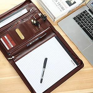 51iU4apbyDL. SS300  - Leathario Portafolio de Carpeta Portadocumentos A4 Organizadora Oficina Personal para Conferencias de Negocio PU de…