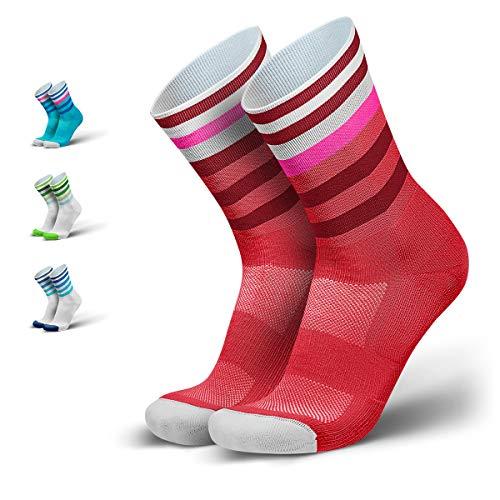 INCYLENCE Levels gepolsterte Laufsocken lang, Running Socks, atmungsaktive Sportsocken mit Anti-Blasen Schutz, Kompressionsstrümpfe, rot, 43-46