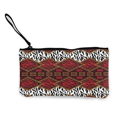 Monedero de lona con diseño étnico de piel de animal salvaje para viaje, maquillaje, lápiz con asa, efectivo, bolsa de lona con cremallera, bolsa de aseo portátil
