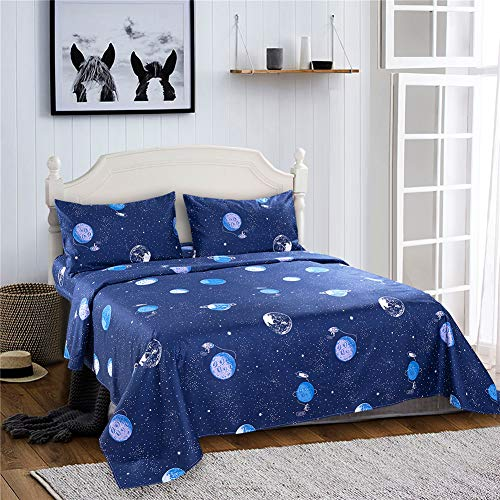 Bedlifes Space Sheets Outer Space Bed Sheets Planet Theme Flat Sheet& Fitted Sheets with 2 Pillowcases for Kids Boys Girls Childrens (Navy Blue Twin)