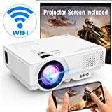 [Wifi Projector] Projector 4500 Lumen 1080P Full HD Supported [With Projector Screen] Mini Wireless Video Projector Compatible with Smartphone, Tablet, TV Stick, Game Player, Home Theater White.