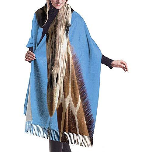 Elaine-Shop Damen Pashmina Schal Wickel Giraffe Kopf Winter Warme Decke Schal Langer Poncho