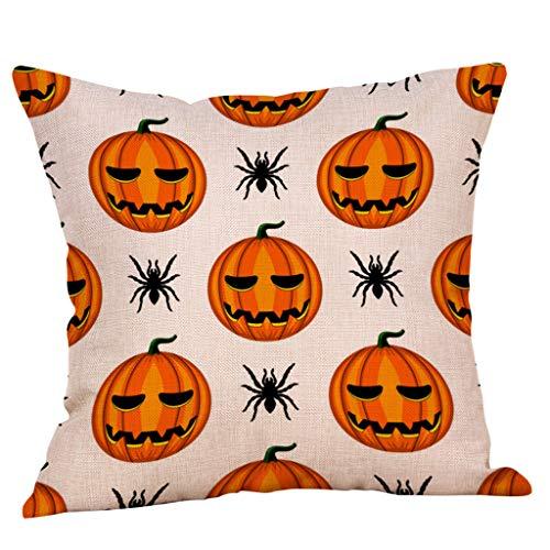 Funda de almohada con estampado de calabaza de Halloween, Sunnsean, decoración del hogar, funda de cojín, I