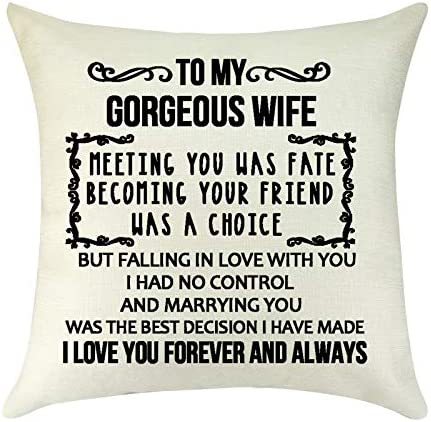 To My Wife Pillow Gifts i love you forever and always Throw Pillow Cover Linen Square Cushion product image