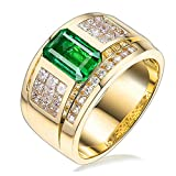 Lanmi Men's 14K/18K Yellow White Gold Natural Emerald Ring Sapphire Tanzanite Engagement Wedding Band with Diamonds for Man Father's Day