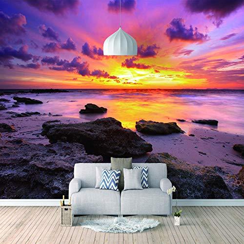 Papel Pintado 3D Murales Puesta de sol por la noche agua de mar- Fotomurales Para Salón Natural Landscape Foto Mural Pared, Dormitorio Corredor Oficina Moderno Festival Mural 150x105 cm - 3 tiras