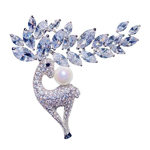 Broches para mujer lindo cúbico Zirconia temperamento cárdigan mantillo abrigo de alce forma broche joyería fina pin accesorios