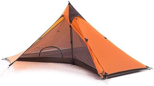 ZZPEO Minaret Tente Double Couche Extérieure Ultra Légère Tente Simple pour 1 Personne avec Tapis Orange
