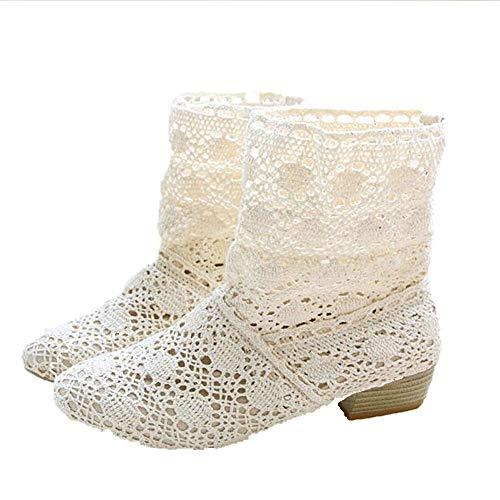 Yvelands Zapatos con Punta Redonda para Mujer Botas Martin Antideslizantes Tacones Altos Botas Casuales(Beige,42)