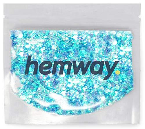 Hemway Mermaid - Glitzerpulver mit Pailletten - vielseitig einsetzbar - zum Basteln & Verschönern von Karten & Blumen/Tisch- & Weinglas-Deko/Kosmetik für Haut & Haare - für Festivals - GROB - Blau