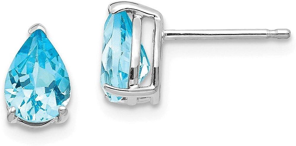14k White Gold 7x5mm Pear Blue Topaz Post Stud Earrings Birthstone December Gemstone Fine Jewelry For Women Gifts For Her