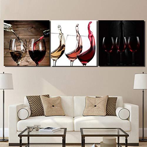 Arte 3 piezas lienzo arte vidrio vino tinto alcohol arte nórdico lienzo pintura cuadro de pared para sala de estar Decoraciones 60x60cmx3pcs sin marco