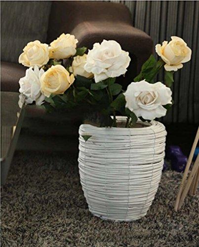 FZN Pot rotin Fleur Panier tissé Fleur Pot Vase paniers de Fleurs Baril rétro Fleur de siège créatif Pots de Fleurs (Couleur : #2, Taille : 27 * 30cm)