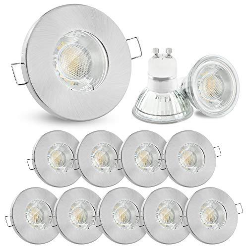 10x linovum® Einbaustrahler Set 3W flach IP65 mit Wasserschutz für Bad, Dusche oder Außen inkl. GU10 LED Lampe warmweiß 2700K