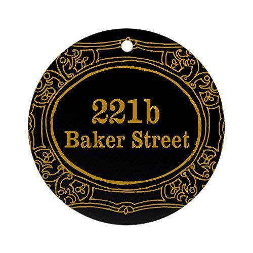 HomeT 221b Baker Street Ceramic Ornament 3 inch Round Holiday Christmas Ornament
