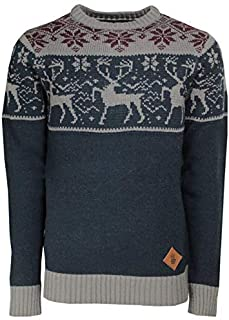 Soul Star Mens Knitted Polo Roll Crew Neck Pullover Christmas Jumper Navy M