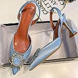 YHCS Big Talla 41 42 Bombas Azules Bombas de Seda Satin Punta de Punta Rhinestone Crystal High Tacones Zapatos Slip en Las...