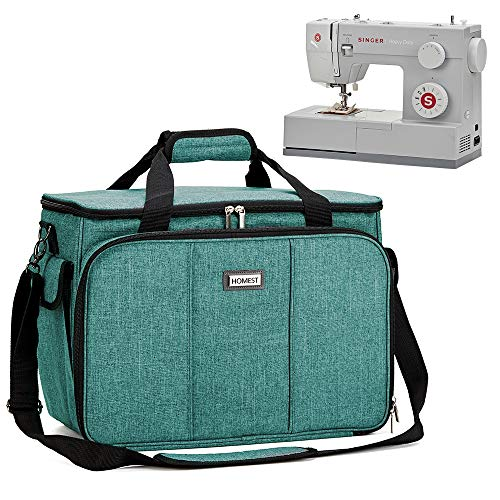 HOMEST Sewing Machine Carrying Case with Multiple Storage Pockets, Universal Tote Bag with Shoulder Strap Compatible with Most Standard Singer, Brother, Janome, Green (Patent Design)