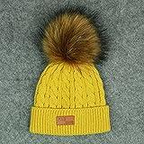 niños Sombreros de Invierno bebé niños niña Gorros de Punto sólido Gorras Bola de Pelo Grueso bebé niños niñas Gorro de Invierno cálido-Yellow Hat