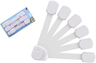 Maxure Baby Safety Cabinet Locks 6 Pack White, Child Proof Safety Locks, Adjustable Length Strap with Strong Stickers,Easy to Install for Baby Proof Cabinets, Drawers, Toilet, Fridge & More