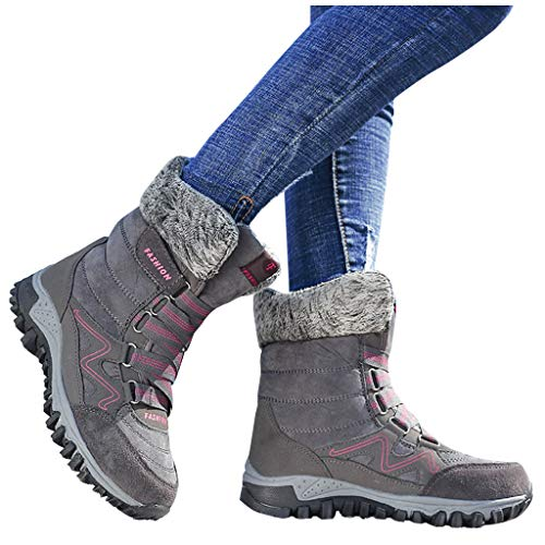 Haomigol Women's Wedges Ankle Booties Comfy Warm Lace up Snow Boots Hiking Boot for Women Winter Outdoor Sneakers Ankle Shoes