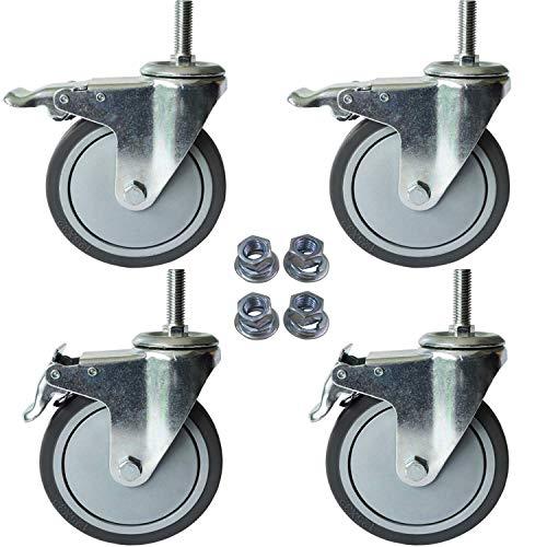 AAGUT 5 Inch Locking Swivel Casters 1/2'-13 x 1.5' Threaded Stem Wheels with Brake Grey TPR Rubber Wheel Set of 4