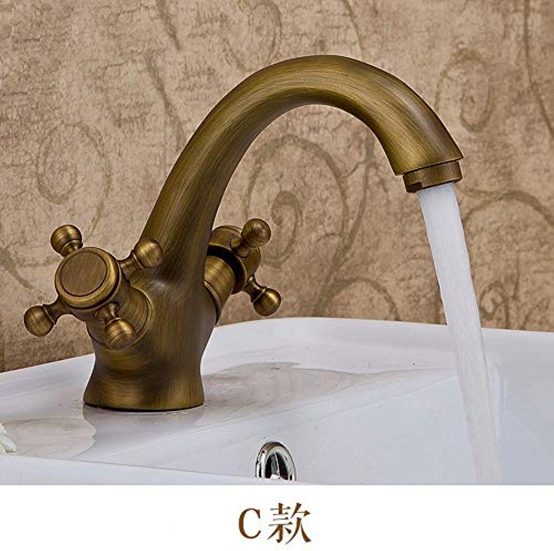 CFHJN Home Europischen Stil Retro Alle Kupfer Waschbecken Einlochmontage Doppelgriff Warmen Und Kalten Waschbecken Wasserhahn (153  105 cm)