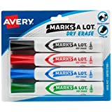 Avery Marks A Lot Dry Erase Markers, Low Odor White Board Markers with Chisel Tip, 4 Assorted Colors (24409)