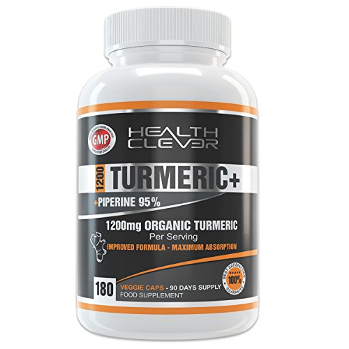 HC Organic Turmeric Curcumin 1200mg Supplement - 180 Capsules with Black Pepper Piperine Extract - for Anti - Inflammatory Joints - Immune System Booster - Soil Association Certified - Anti-Oxidant
