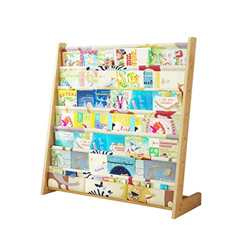 Librerie Scaffale per Bambini Montaggio Semplice in Legno massello scaffale per Bambini da Terra mensole multifunzionali per Libri illustrati (Color : Wood Color, Size : 79 * 60 * 30cm)