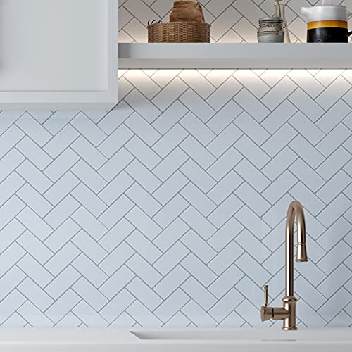 "Vamos Tile 10-Sheets Peel and Stick Tiles Backsplash, Herringbone Adhesive Backsplash Tile, Stick on Tiles for Kitchen & Bathroom (12""x12"", Thicker Design)"