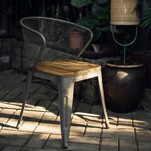 IGOSAIT Sillas de comedor nórdicas suaves Sillón industrial americano Silla de comedor de hierro forjado Diseñador Original Silla individual Retro Lounge Chair (color hierro)