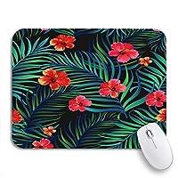 NINEHASA 可愛いマウスパッド グリーンパターン熱帯ハイビスカスの花とヤシの葉ノートブックコンピューターマウスマット用花滑り止めゴムバッキングマウスパッド