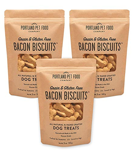 Crafted by Humans Loved by Dogs Portland Pet Food Company All-Natural Dog Treat Biscuits Multipack (3 x 5 oz Bags) – Bacon Flavor – Grain-Free, Gluten-Free, Human-Grade, Limited Ingredients