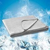 Hansleep Manta Verano de Frescura 150x200 cm Gris, Manta Cama con Fibra de Enfriamiento Tecnología de Refrigeración Transpirable Manta Reversible