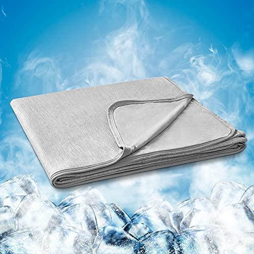 Hansleep Manta Verano de Frescura 200x220 cm Gris, Manta Cama con Fibra de Enfriamiento Tecnología de Refrigeración Transpirable Manta Reversible