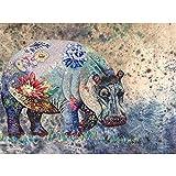 Kit de pintura de diamantes 5D,Rinoceronte animal flor colorida Diamante Pintura Kits DIY 5D Kit de Pintura de Diamante,para decoración de pared del hogar 30x40 cm(Sin marco)