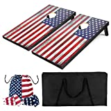 YumHome Flag Series All-Wood Cornhole Set, 2 Regulation Cornhole Boards with 8 Cornhole Bags and Carrying Case, for Fun Outdoor Game (4' x 2')