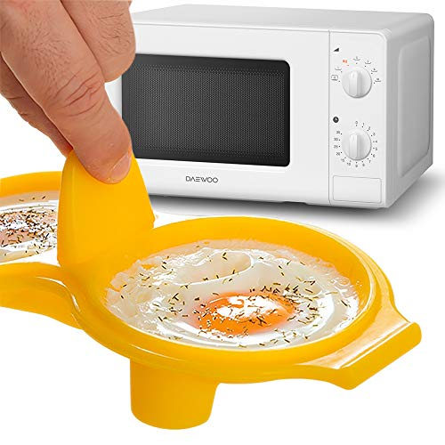 MovilCom® – Mikrowellen-/Pfannen-Vorratsbehälter, speziell für Mikrowelle oder Dampf | Kochen von Eiern in der Mikrowelle | Kochen Sie Eier im Dampfgarer | BPA-frei | Gelb