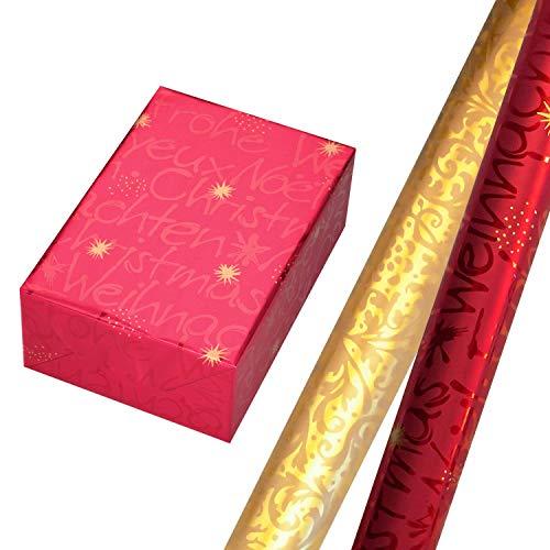 Geschenkpapier Weihnachten Set 2 Rollen (75 x 150 cm), Schrift-Design auf hochglänzend rotem Metallicpapier mit goldenen Sternen + Geschenkpapier in crème, auf Perlglanz goldenem Hintergrund.