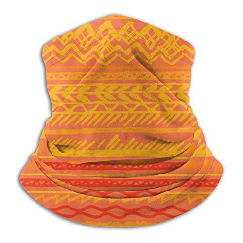 Calentador de Cuello de Microfibra Unisex Naranja Patrón Étnico Vector Elementos Dibujados a Mano Pasamontañas Sombreros Bufanda para Polvo Viento Protección Solar