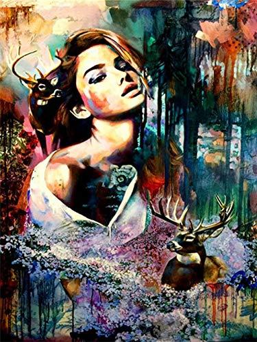 CDNY Mujer Animal-DIY Diamond Painting-Bordado Punto de Cruz Cuadros Arte-Decoración de la Pared del Hogar40x40cm40x50cm