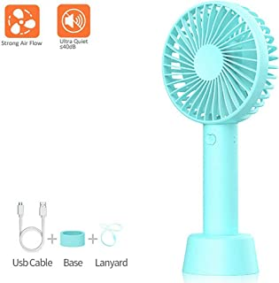 WPPOWER Mini Rotating Fan Handheld USB Fan With Charging Base 2000 MAH 18650 Lithium Battery For Desk Office Home Travel USB Cooler Pink