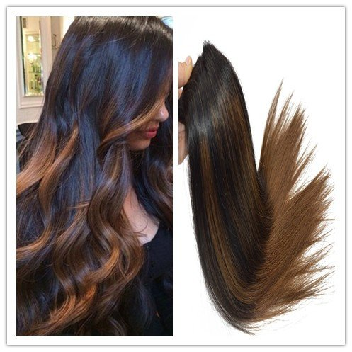 "Balayage Off Black Mixed with Dark Medium Brown 100% Human Remay Hair Straight Hair Weft 100G/Bundle (22"")"