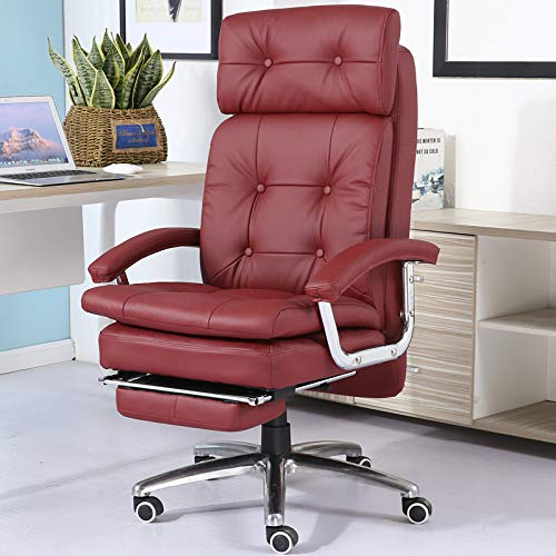 GT-FKM Reclining Faux Leather Office Computer Chair 7-Point Massage High Back Desk Work Swivel Chair with Footstool,Ergonomic Design(Red)