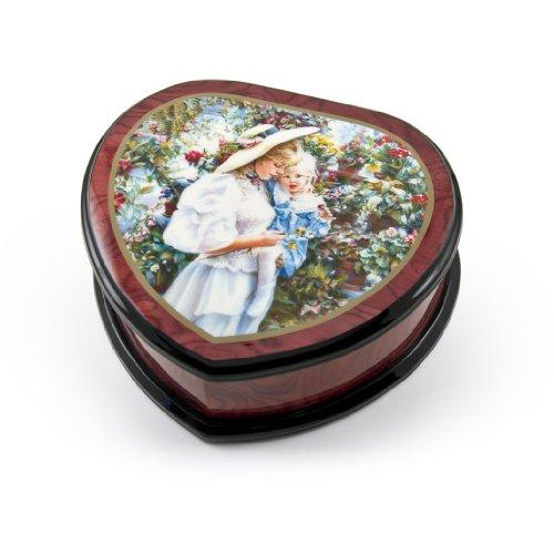 Schattig hart vorm geschilderd Ercolano muziek sieraden doos met titel -moeder en kind in kas door Sandra Kack