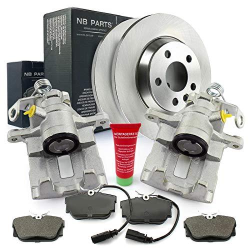 Bremsen/2x Bremssattel + Bremsscheiben + Bremsbelag hinten NB PARTS GERMANY 10069757