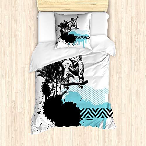 ABAKUHAUS Grunge Bettbezug Set für Einzelbetten, Junge Skater exotisch, Milbensicher Allergiker geeignet mit Kissenbezug, Hellblau Schwarz