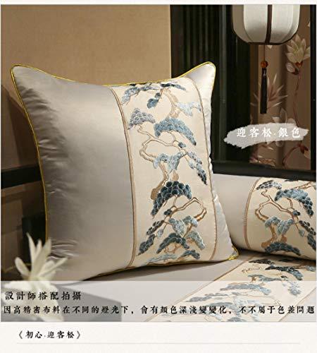 Nuevo lanzamiento chino almohada de caoba sofá cojín cubierta de pino bordado encaje gran mochila cintura almohada-50x50 (funda de cojín)_Cojín plateado