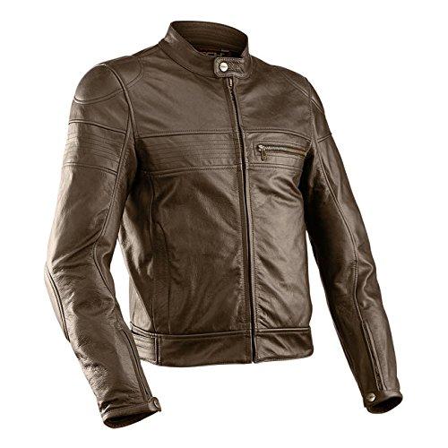 MTech Superaxel - Chaqueta de piel para moto (52, marrón)